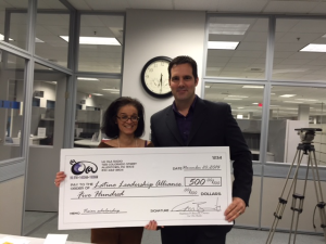 Myra Piña, LLA President & Matthew Braccili, La Ola Radio Owner Networking with a VISIÓN Scholarship Fundraiser: Nov. 20, 2014